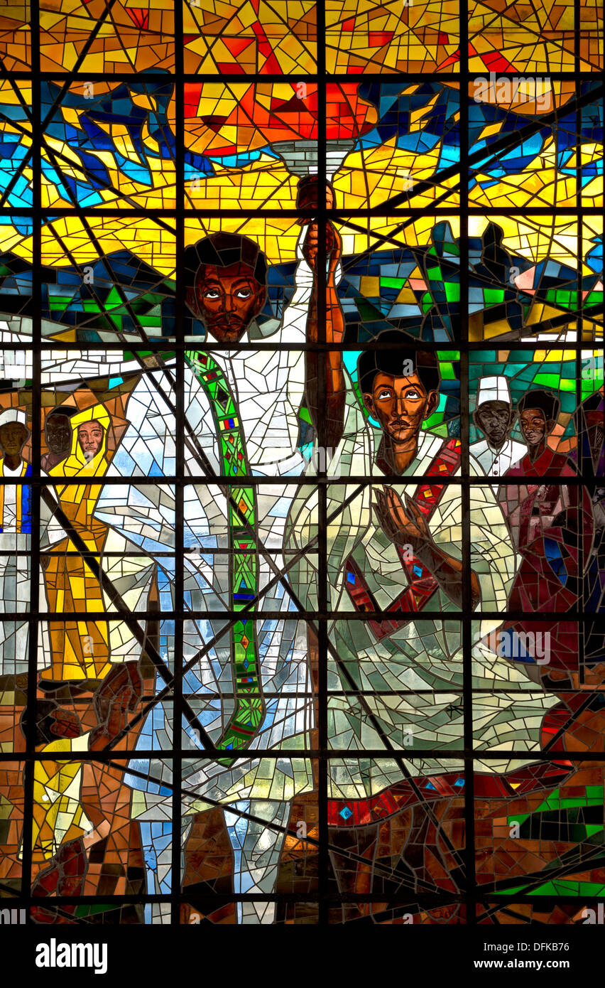 Middle part of the stained glass triptych Total Liberation of Africa by Afewerk Tekle, Africa Hall, UNECA, AddisStock Photo