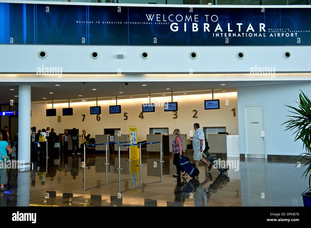In the departure hall of the Gibraltar International Airport, Gibraltar - Stock Image
