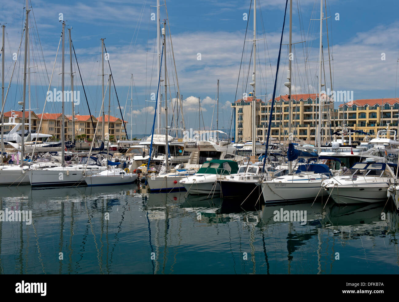 Sailing boats in the Queensway Quay Marina, Gibraltar - Stock Image
