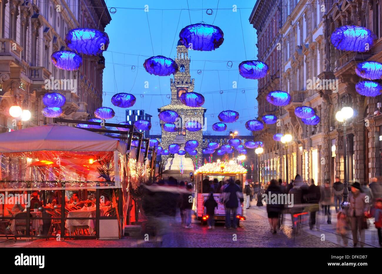 Italy Milan Christmas Decorations Castello Sforzesco In
