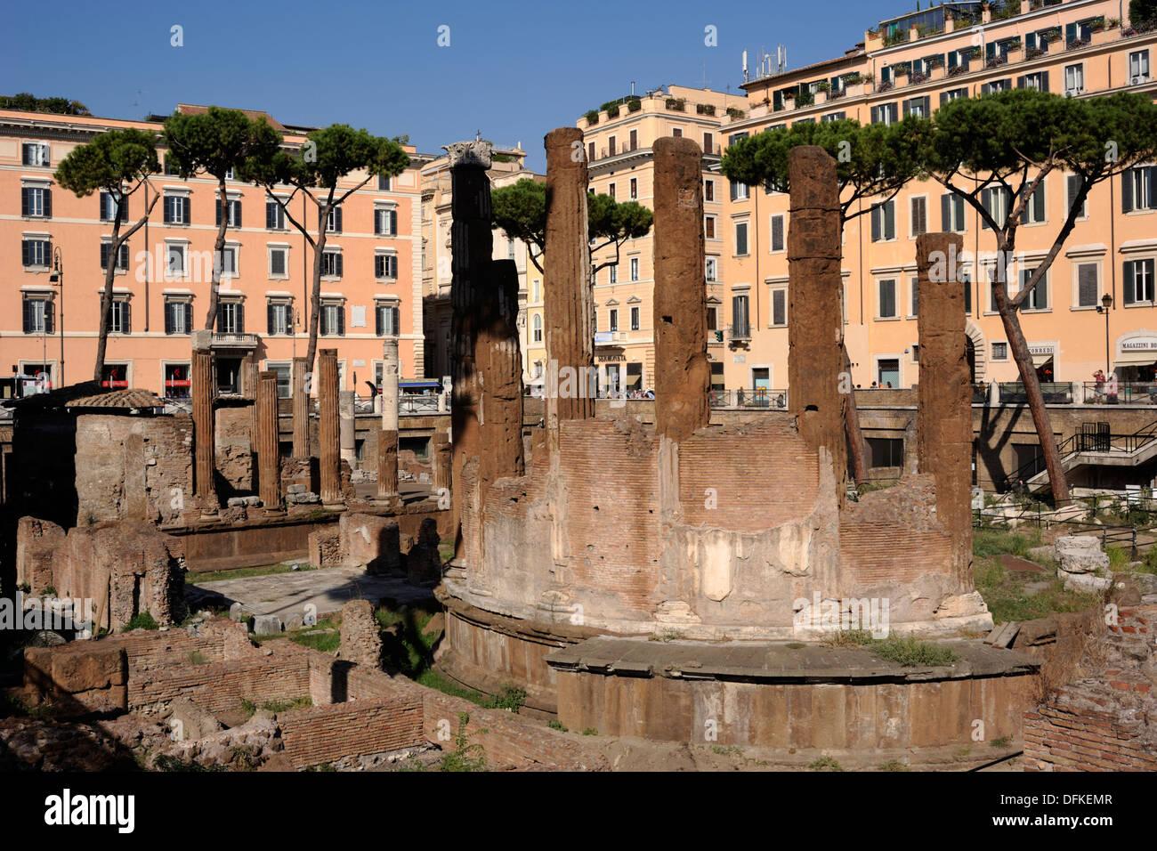 italy, rome, area sacra of largo di torre argentina, temple B (2nd century BC) - Stock Image
