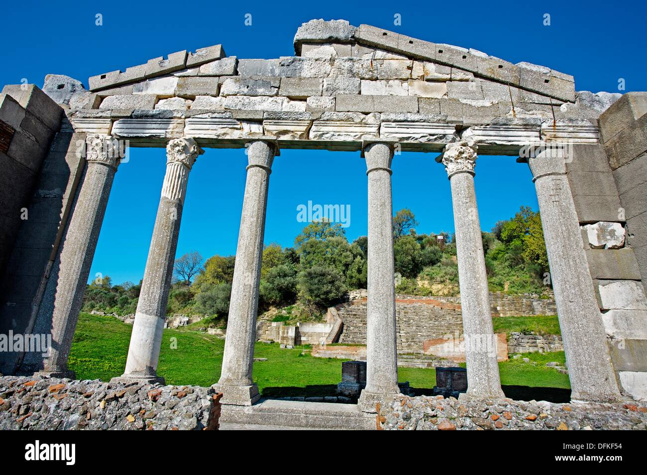 Monument of the Agonothetes. Apollonia ancient Greek. Archeological excavation. Albania. - Stock Image