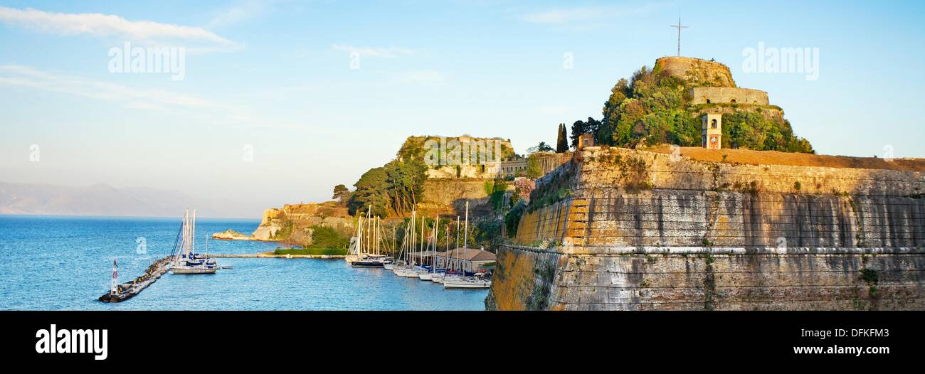 The Contrafossa, the moat built to separate the Old Fortress from the outer city Kerkyra town, Kerkyra town, Corfu, Greece - Stock Image