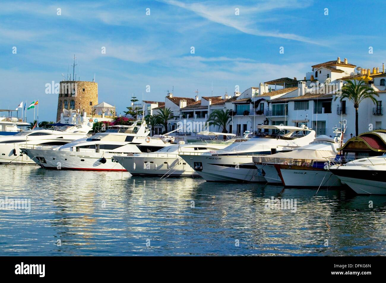 Exclusive yacht harbour of Puerto Banu´s, near Marbella  Costa del Sol, Ma´laga province  Andalusia, Spain - Stock Image