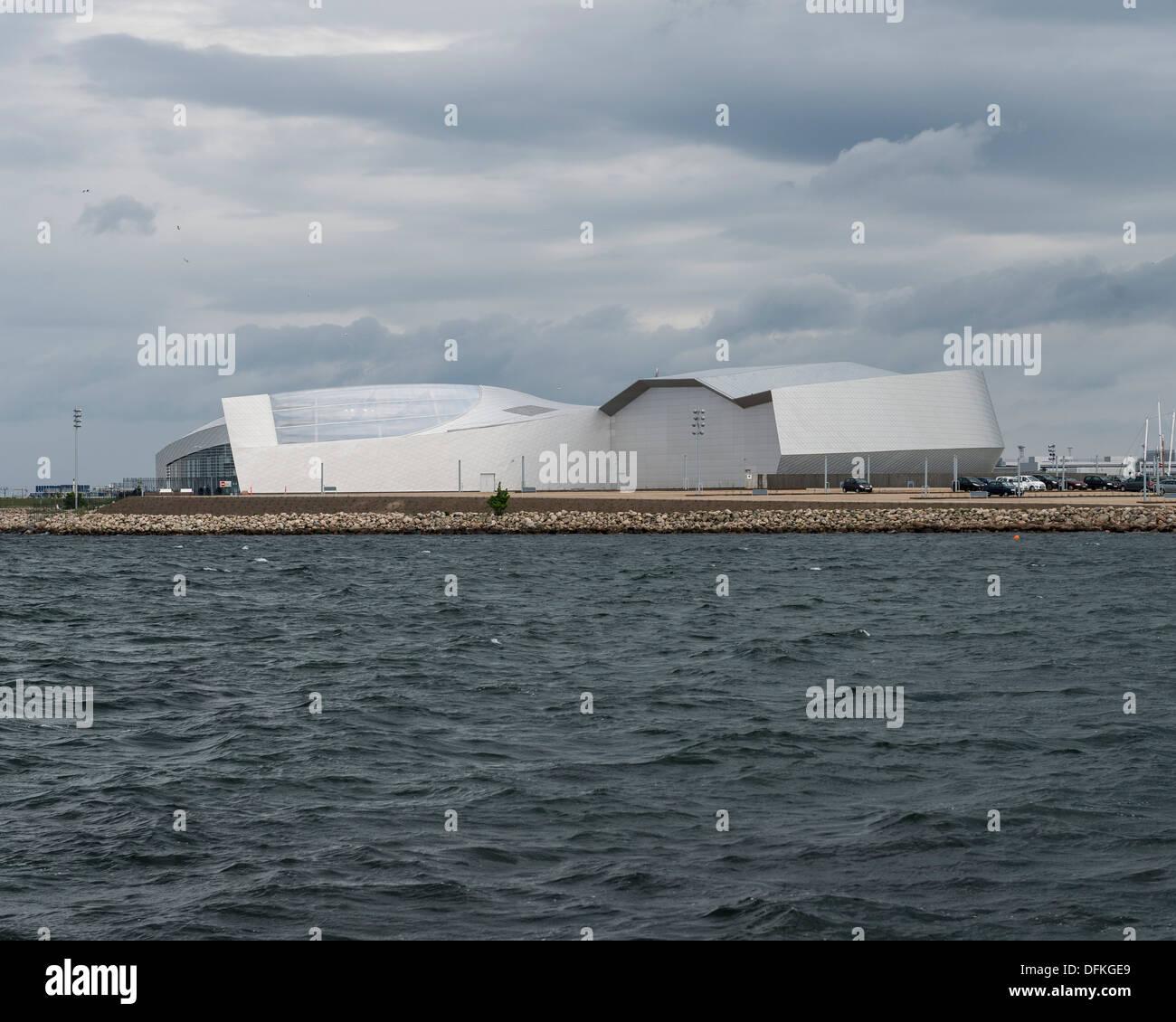 Den Blå Planet (The Blue Planet, Denmarks National Aquarium), Copenhagen, Denmark. Architect: 3Xn, 2013. Stock Photo