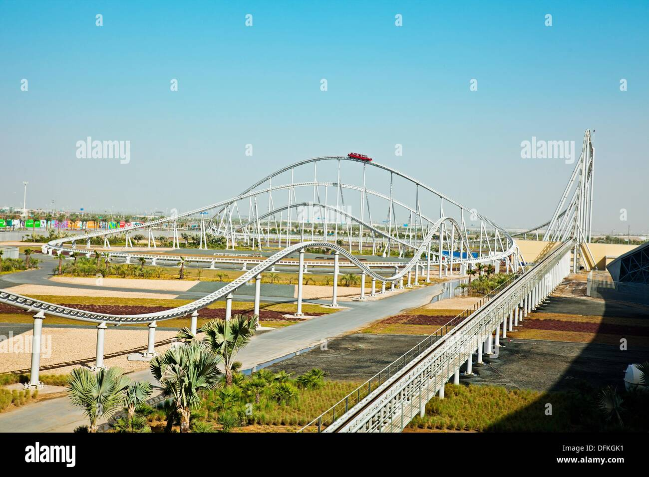 Visitors Riding World S Fastest Roller Coaster Formula Rossa At Stock Photo Alamy