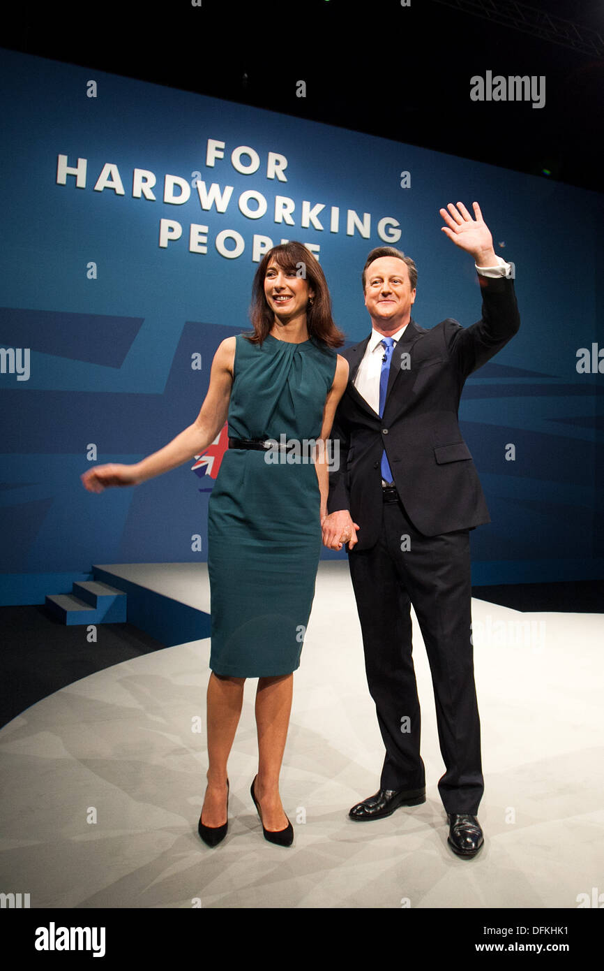 The Prime Minister David Cameron at the Conservative Party Conference at Manchester Central. Pictured with his wife Samantha - Stock Image