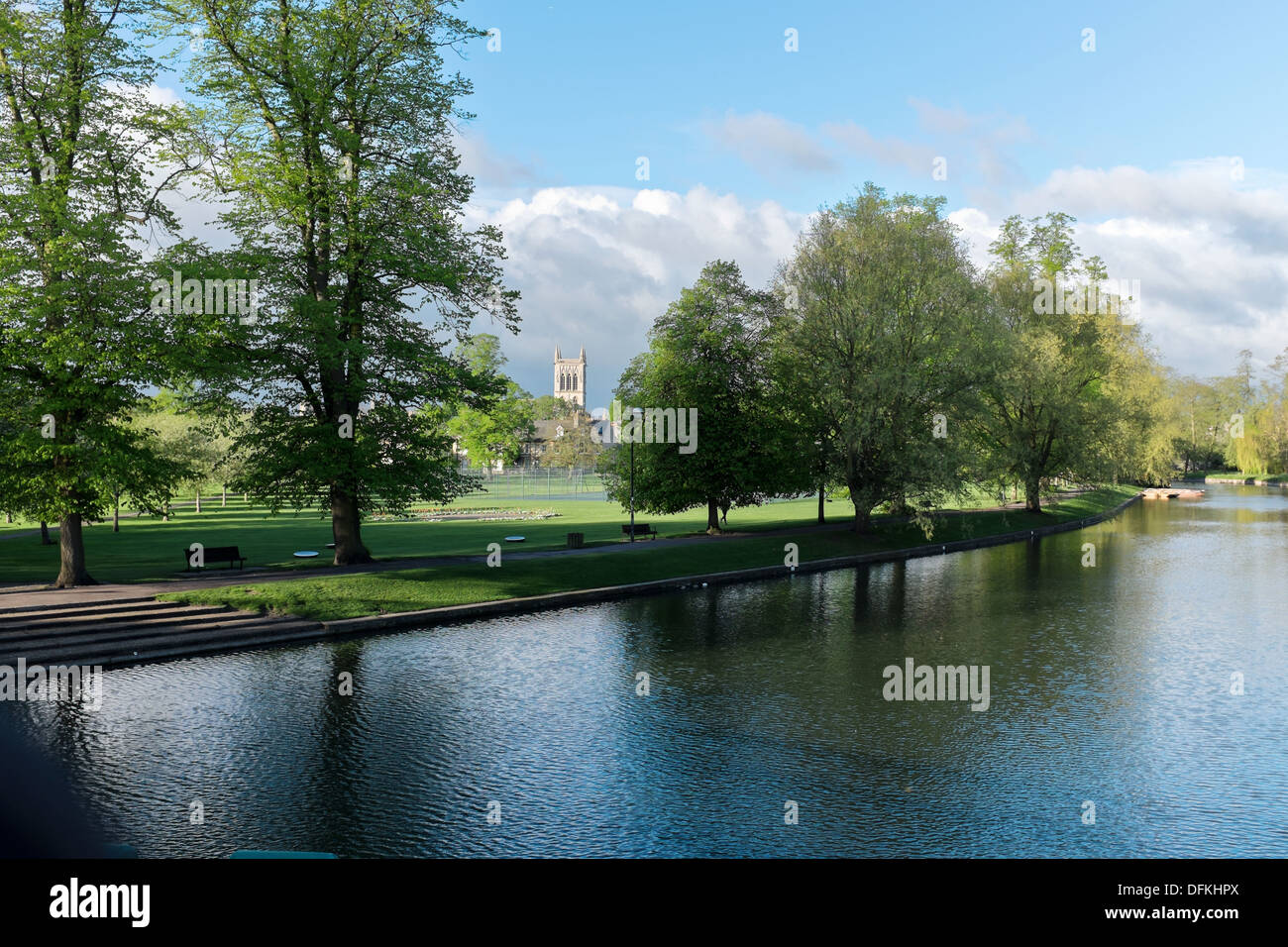 View from River Cam across Jesus Green to St John's College, Cambridge UK - Stock Image