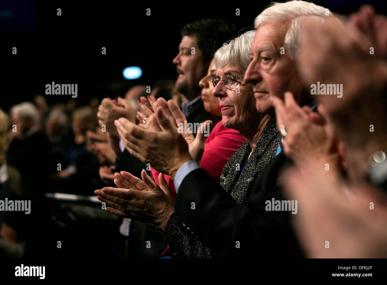 The Prime Minister closes the Conservative Party Conference at Manchester Central with his keynote speech. audience members - Stock Image