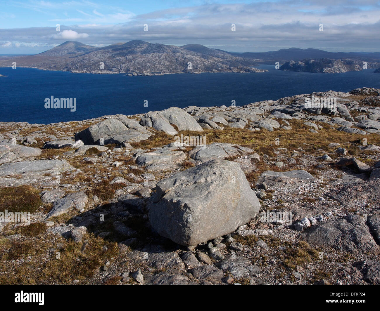 Summit of Sron Romul, Scarp, Scotland, looking east to Harris - Stock Image