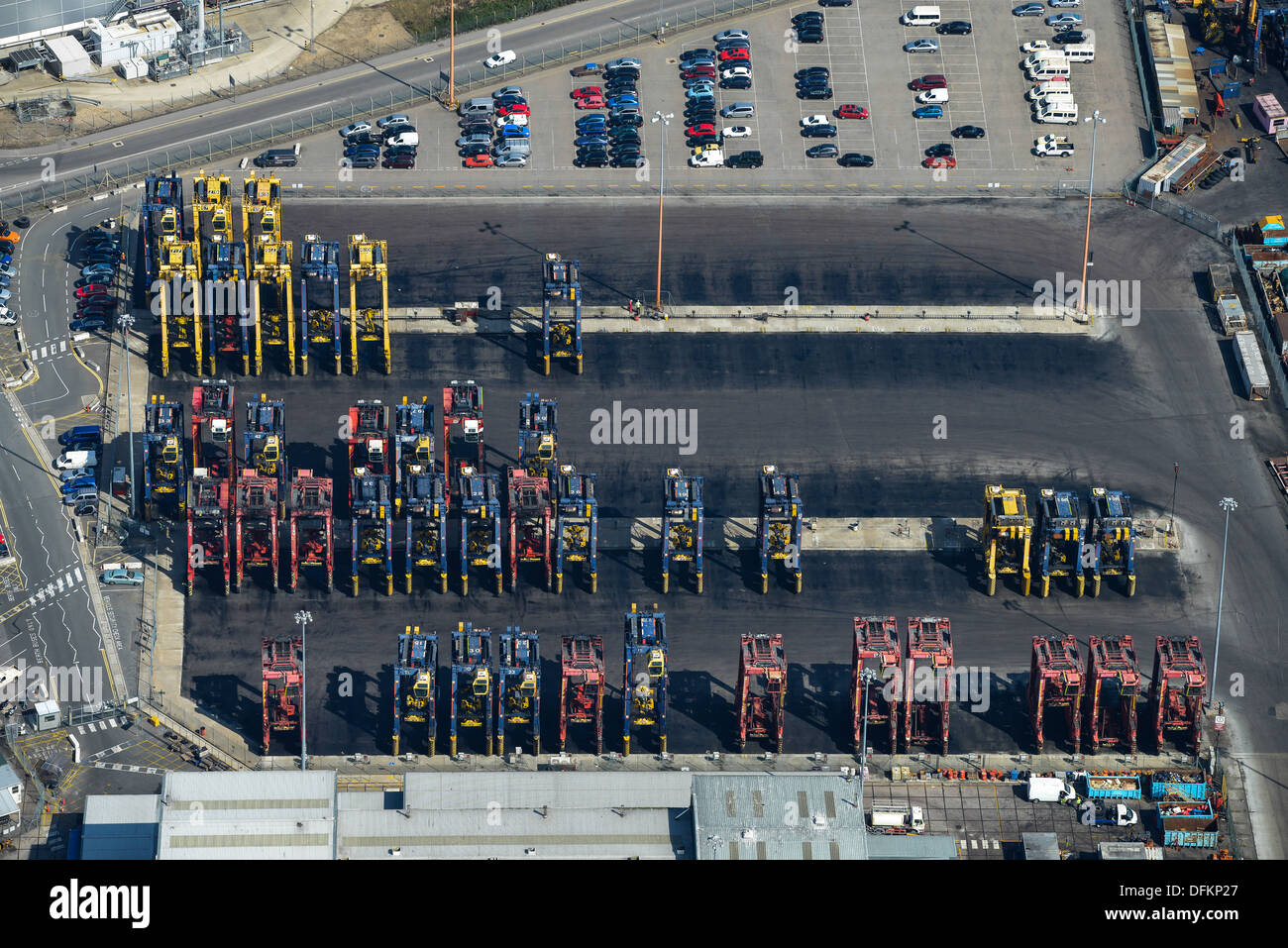 Aerial photograph of cranes at Southampton Docks - Stock Image