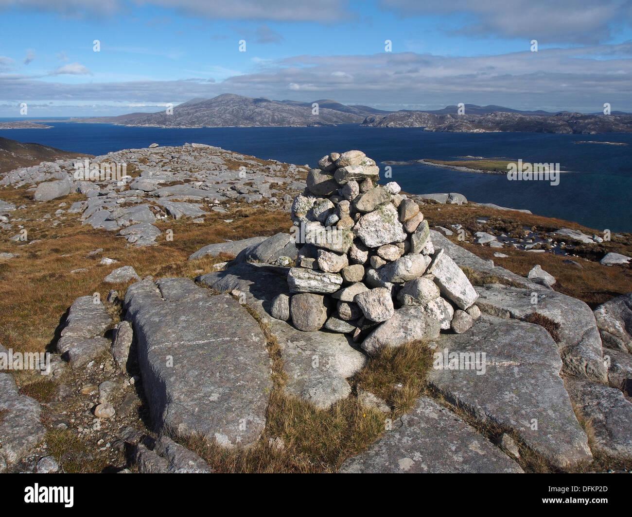 Cairn on summit of Beinn Fo Thuath, Scarp, Harris, Scotland - Stock Image