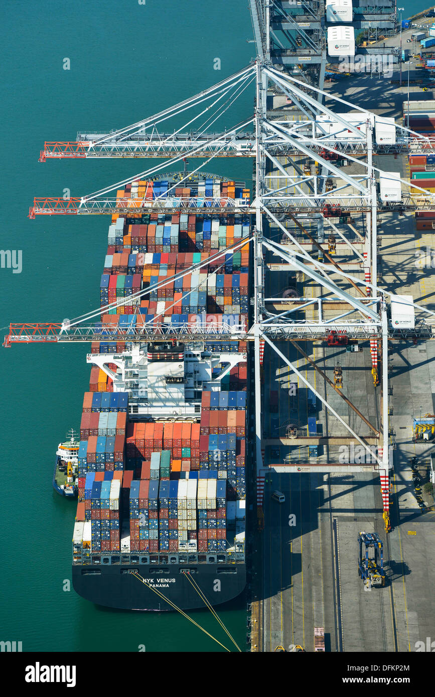 Aerial photograph of a Ship at Southampton Docks Stock Photo