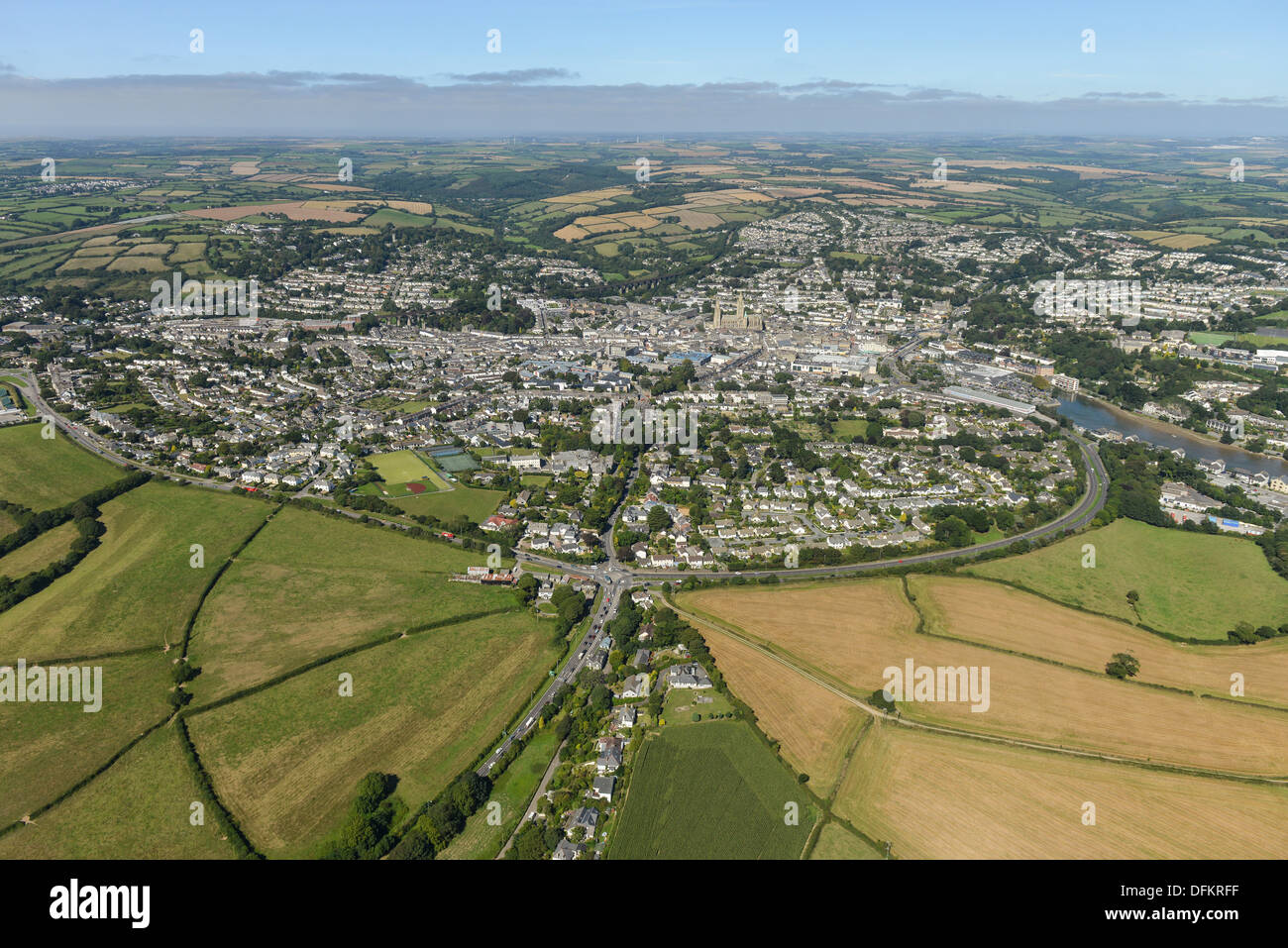 Aerial photograph of Truro Cornwall - Stock Image