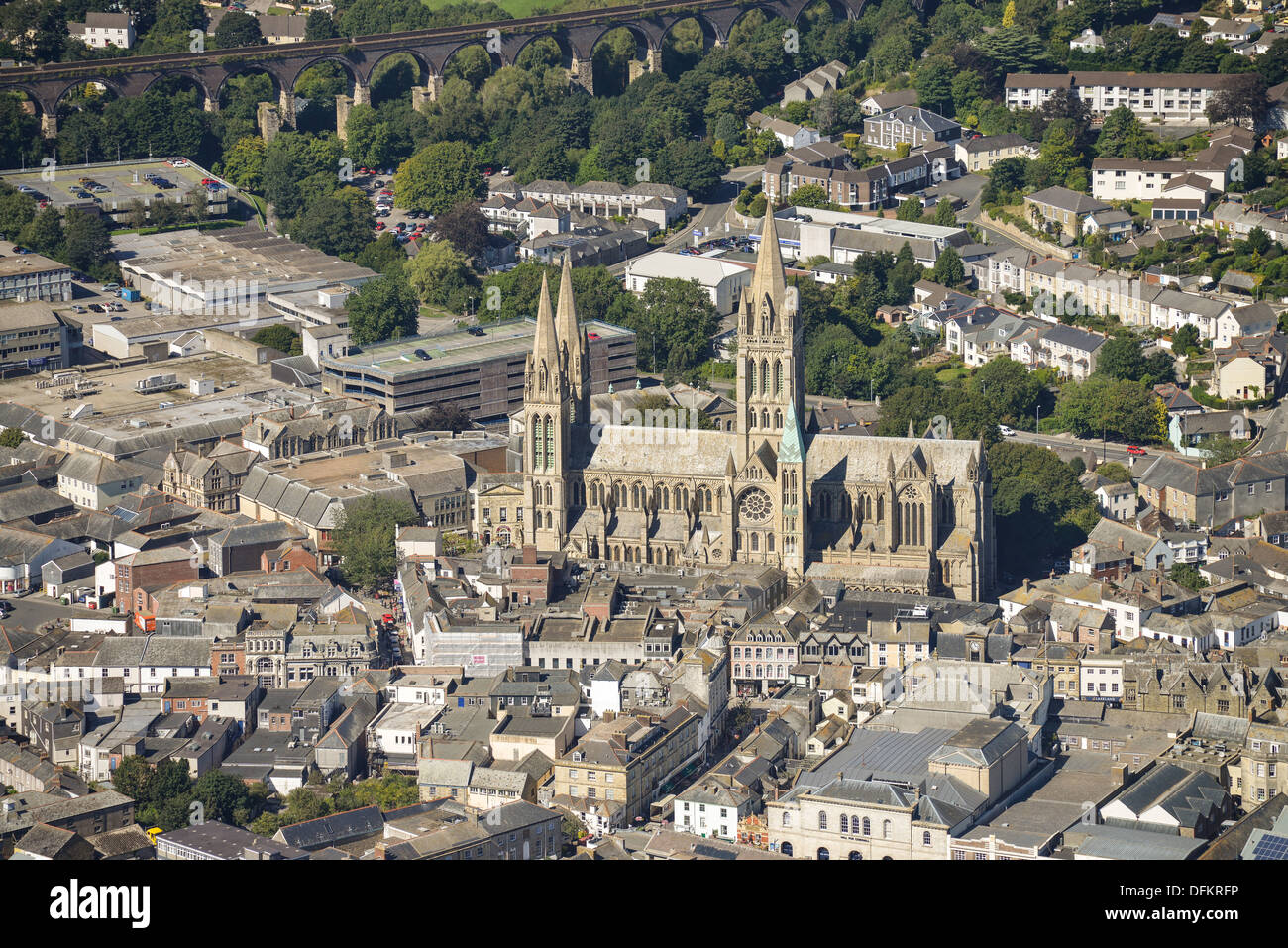 Aerial photograph of Truro Cathedral - Stock Image