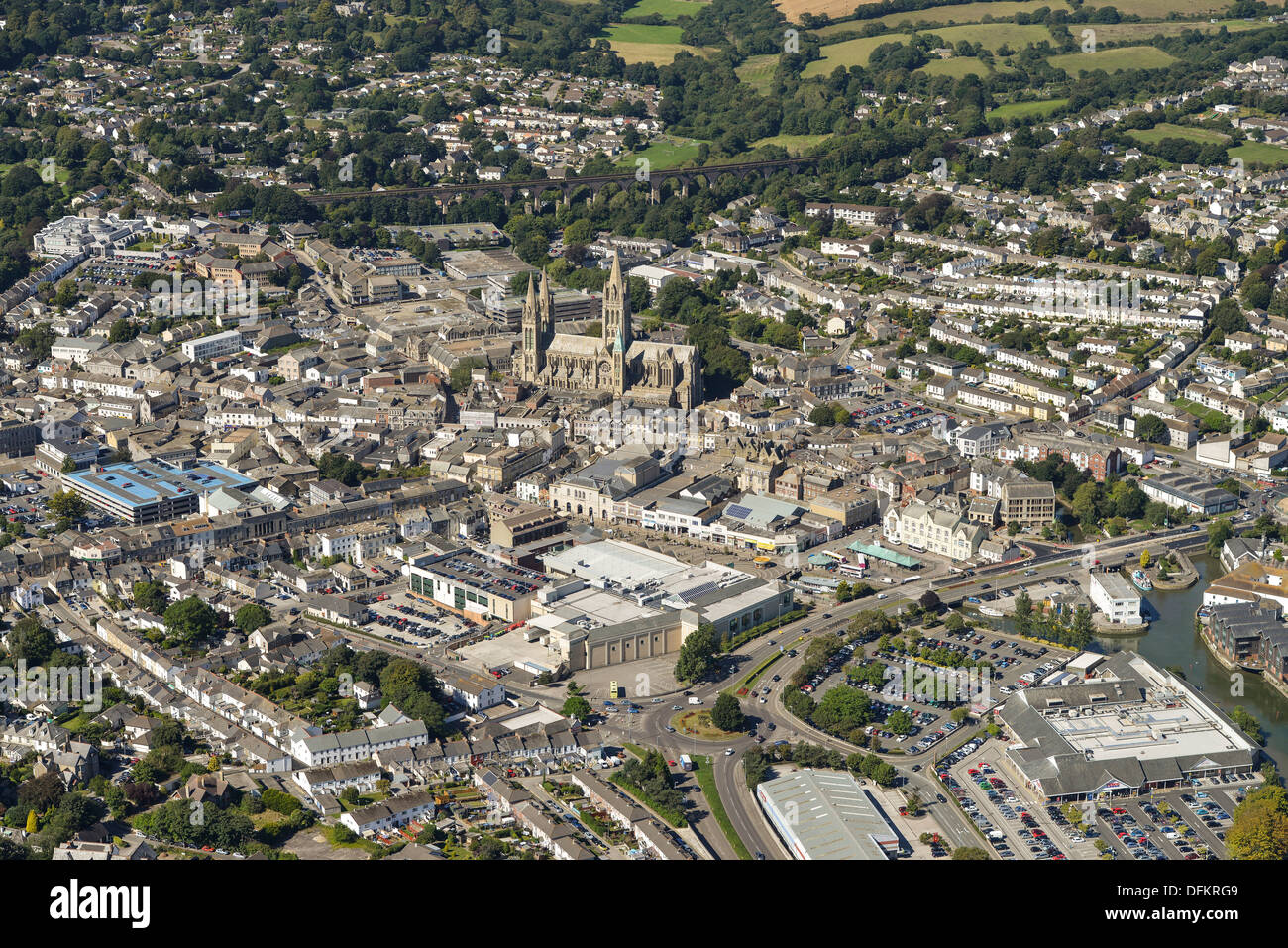 Aerial photograph of Truro City centre - Stock Image