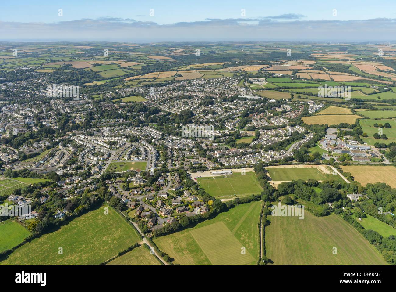 Aerial photograph Truro Cornwall - Stock Image