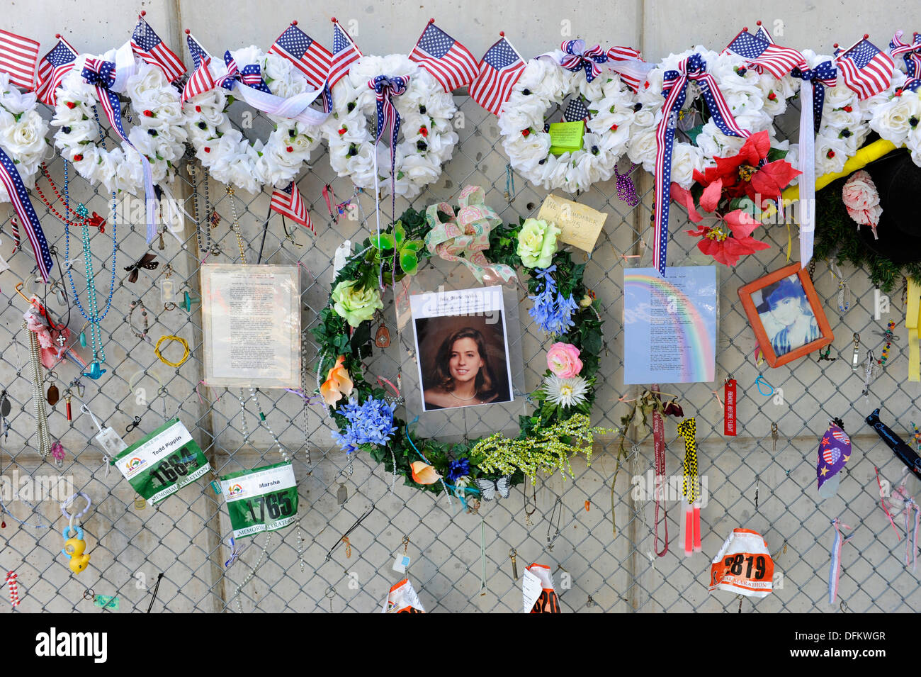 Fence filled with personal remembrances Oklahoma City Bombing Site Alfred P Murrah Building National Memorial Stock Photo