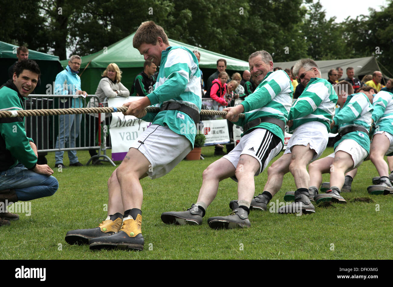 Tug of war,rope pulling,a sport that pits two teams against each other in a test of strength.Netherlands - Stock Image