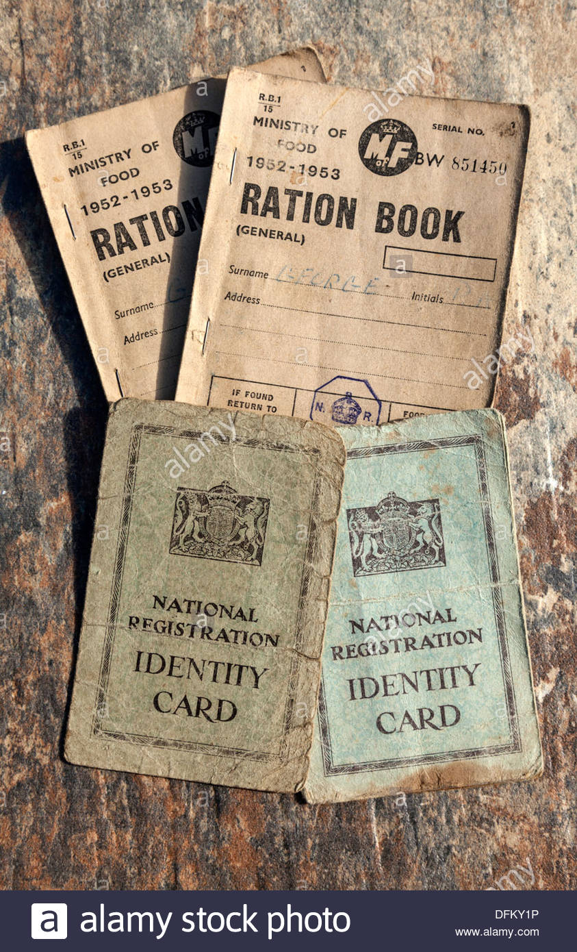 Ration books and identity cards - Stock Image
