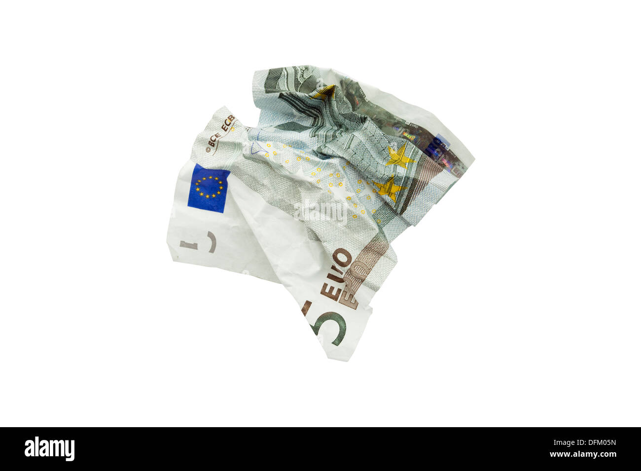 A five Euro note screwed up isolated on a white background to illustrate the European Union wasting money concept - Stock Image