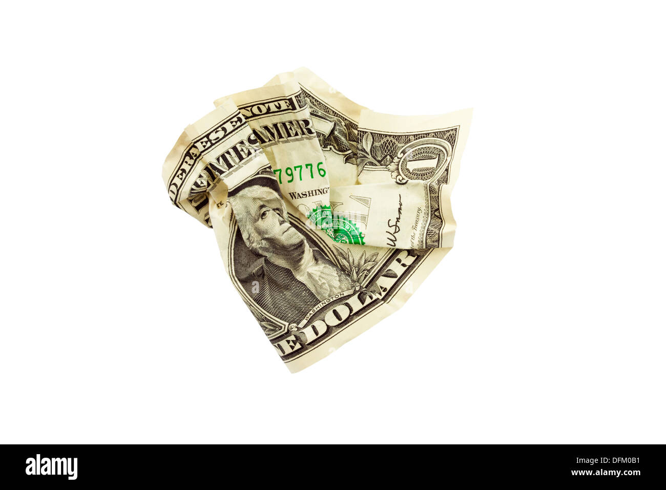 One US dollar bill screwed up isolated on a white background to illustrate wasting money concept - Stock Image