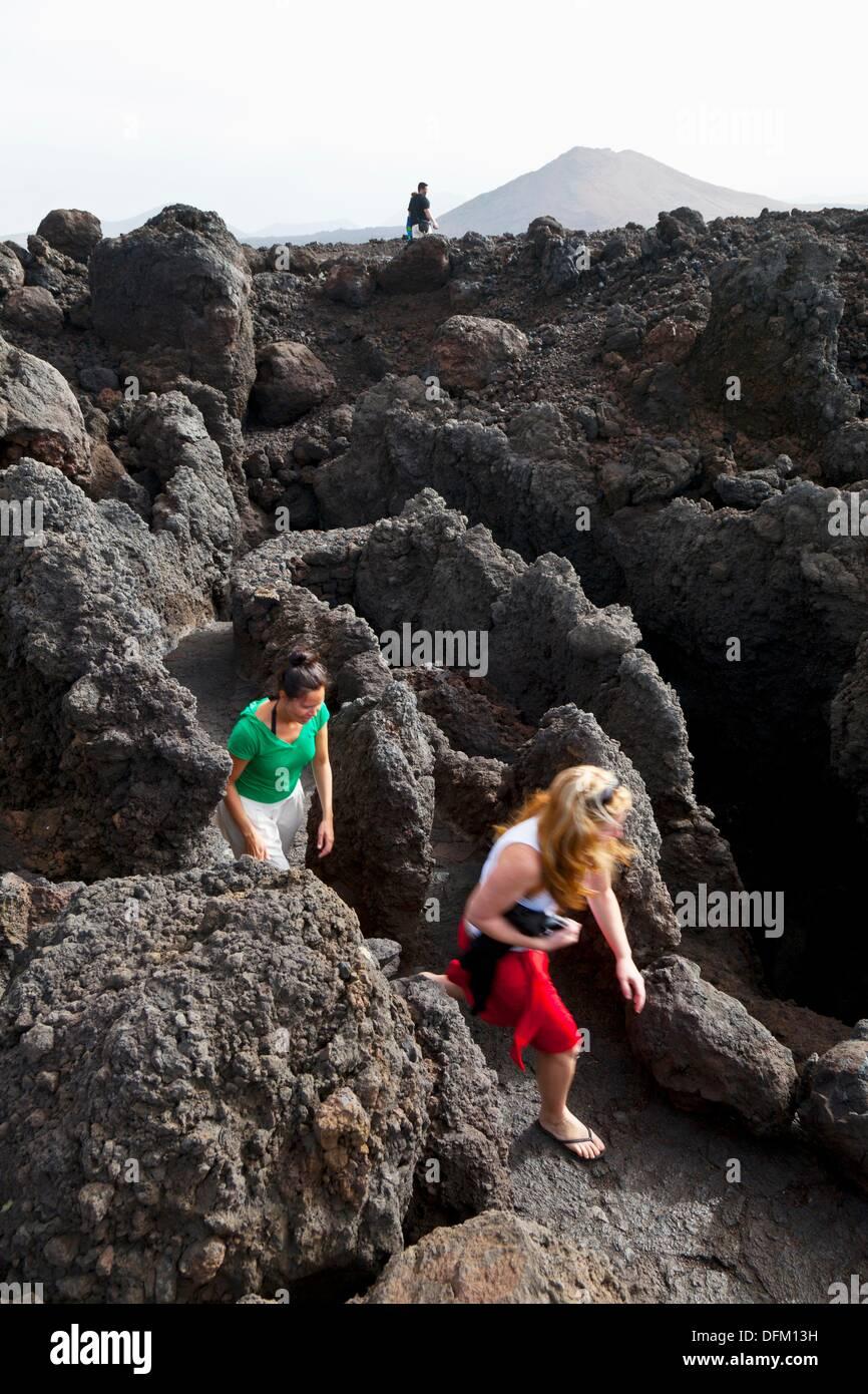 Paisaje volcánico Los Hervideros  Isla Lanzarote  Provincia Las Palmas  Islas Canarias  España Stock Photo