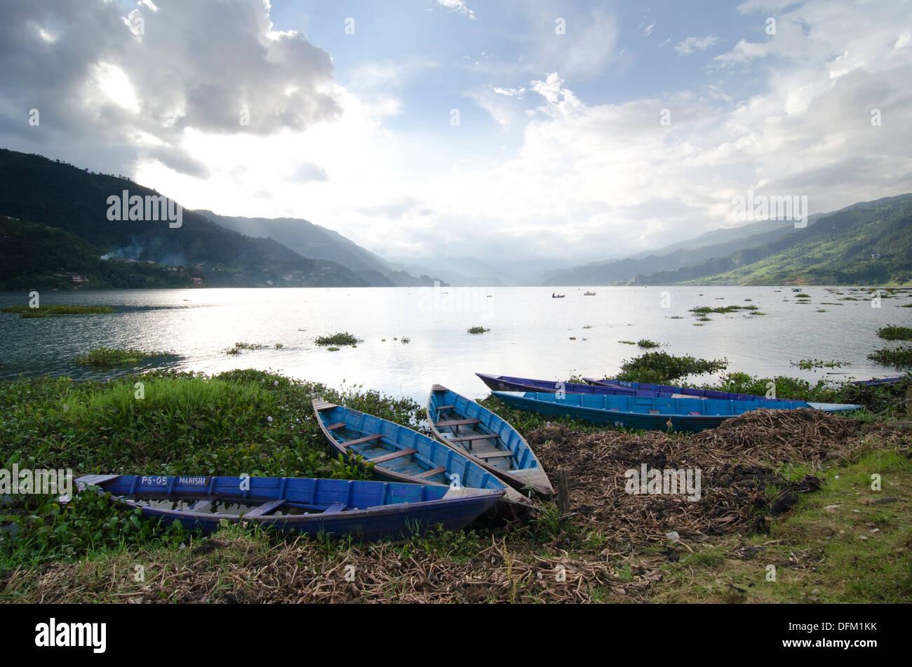 Pokhara lake, Nepal - Stock Image