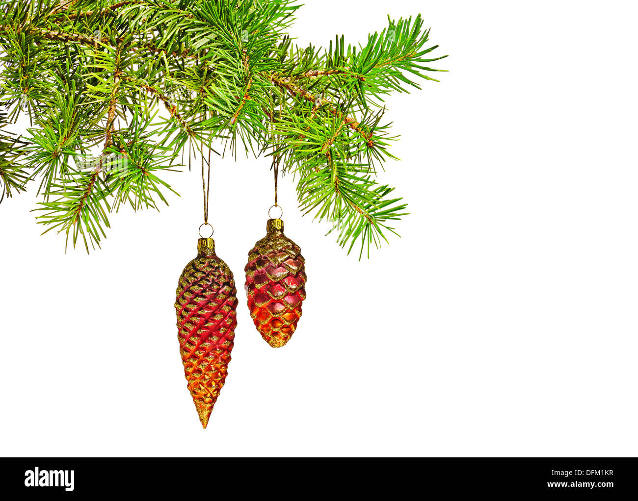 Christmas decoration. Red cones toy on christmas - Stock Image