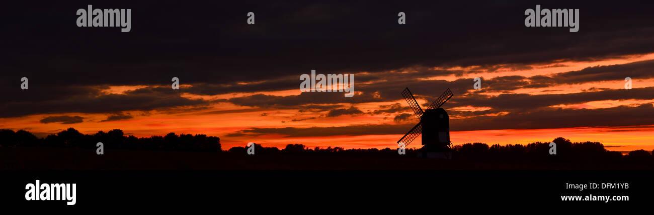 Pitstone Windmill during Autumn Sunset - Stock Image