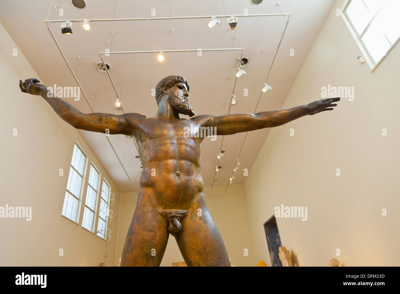 Artemision Bronze ancient Greek sculpture in the National Archaeological Museum, Athens, Greece - Stock Image