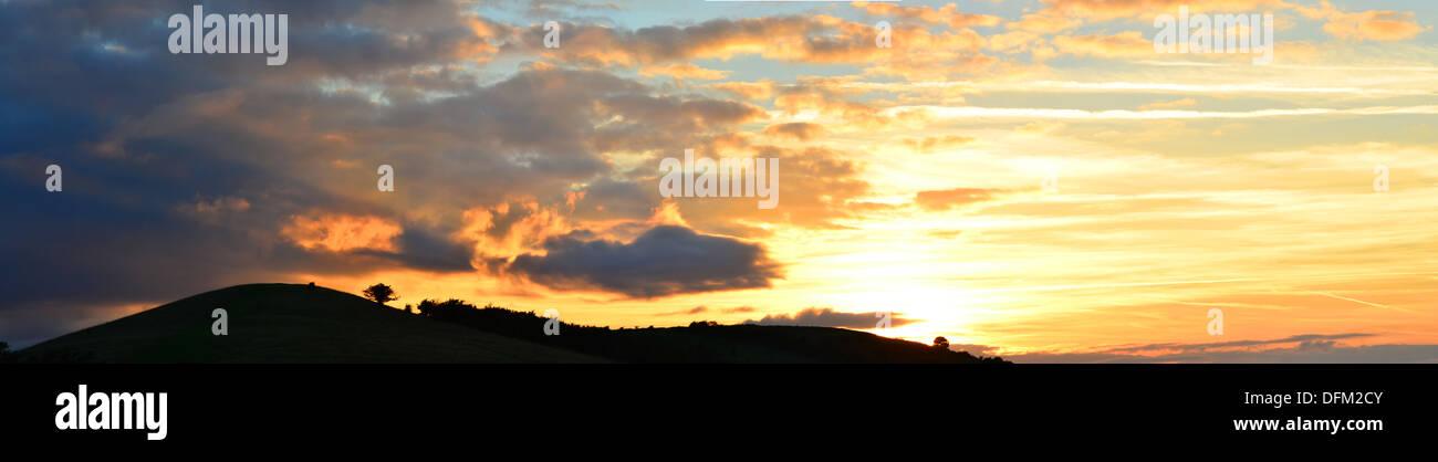 Sunset at Ivinghoe hills, Buckinghamshire, England - Stock Image