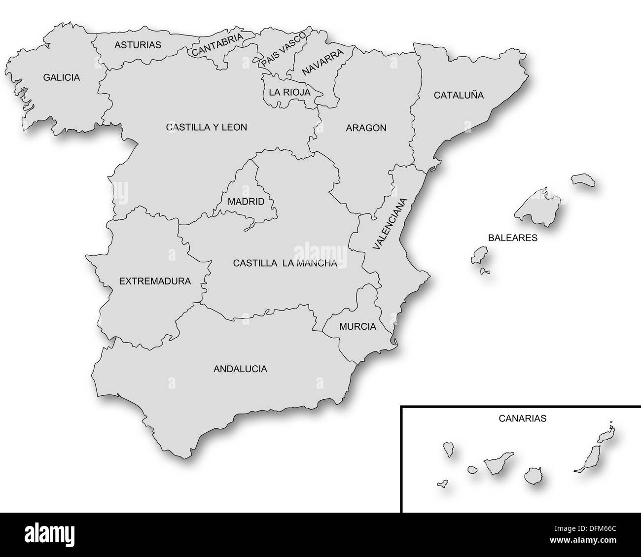 Map of Spain - Stock Image