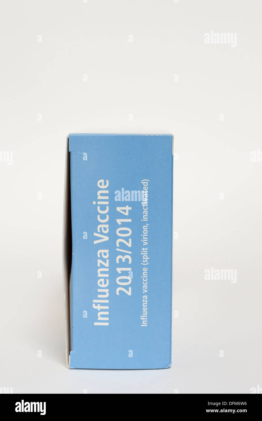 A box of flu vaccines for the 2013 to 2014 season - Stock Image