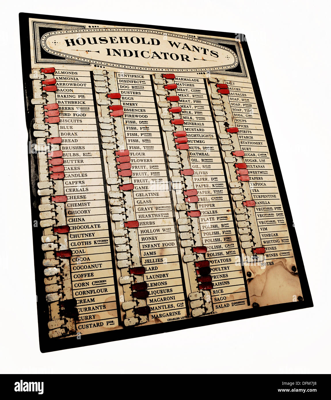 Household Wants Indicator, from Bruton Museum, Somerset. - Stock Image