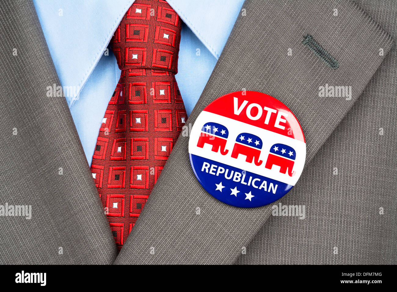Close up of a republican voting badge on the suit jacket lapel of an American voter. - Stock Image