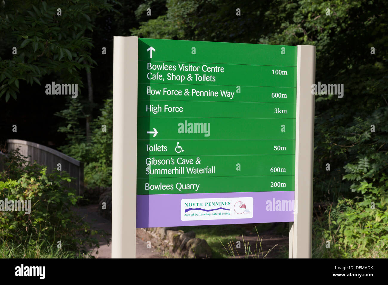 Information Sign at Bowlees Teesdale County Durham UK - Stock Image