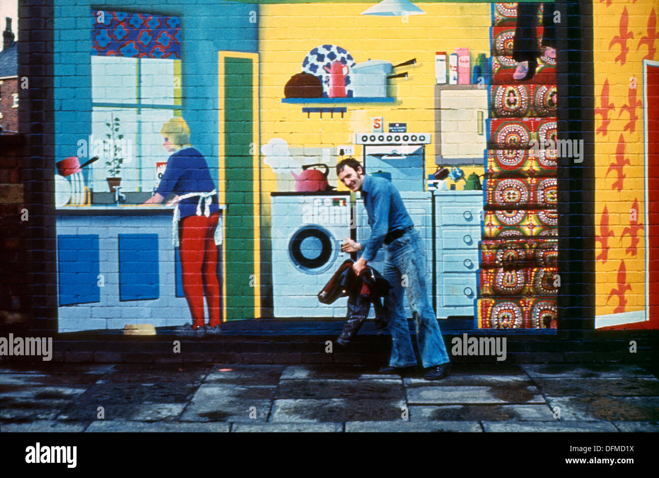 Walter Kershaw Wall Mural INSIDE OUT HOUSE On The Gable End Of A Rochdale  House Lancashire UK 1975 KATHY DEWITT