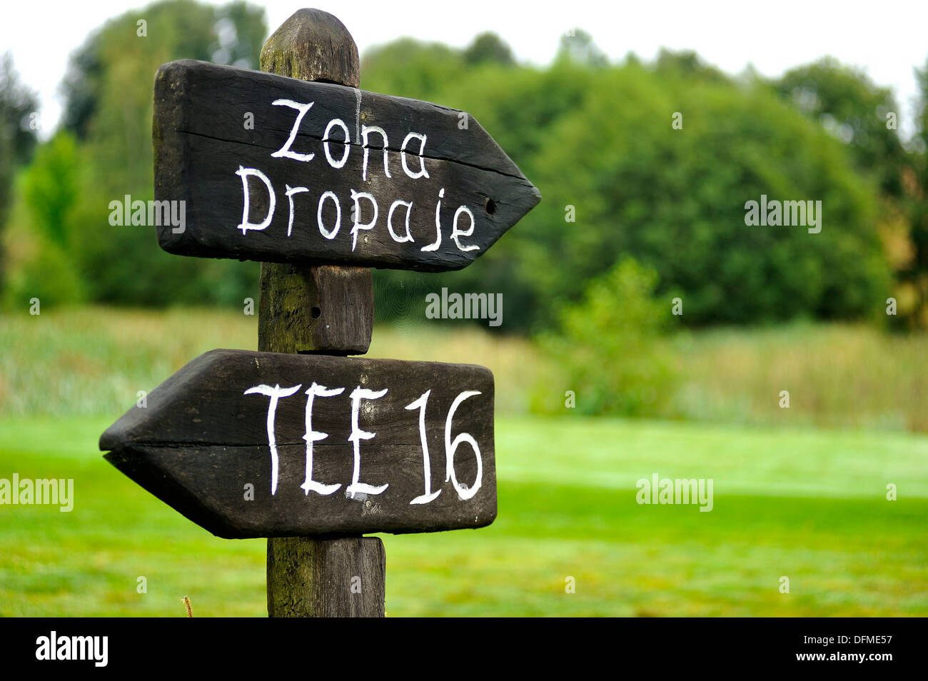 landscape image indicators at Tee 16 and dropping zone on the golf Larrabea in Alava, Basque Country, Spain - Stock Image