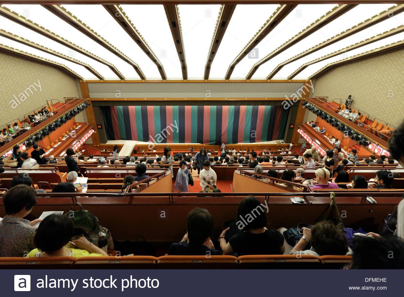 Kabuki theater in Higashi Ginza Tokyo Japan Newly opened in May 2013 designed by Kengo Kuma - Stock Image