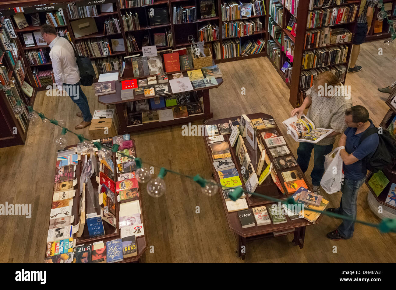 Book department of Housing Works Bookstore Cafe in Soho in New York City - Stock Image
