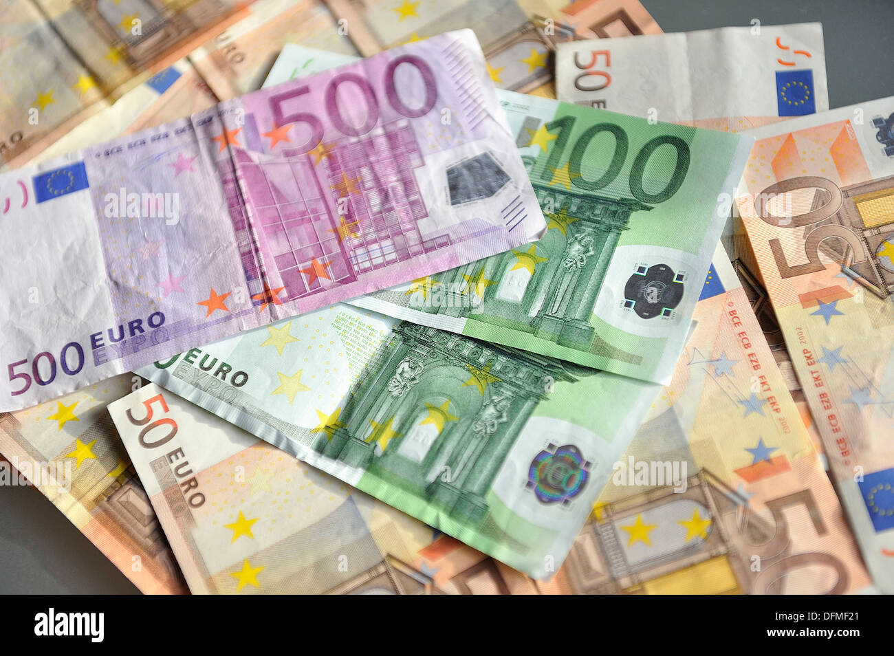500, 100 and 50 Euros photographed closely and stacked - Stock Image