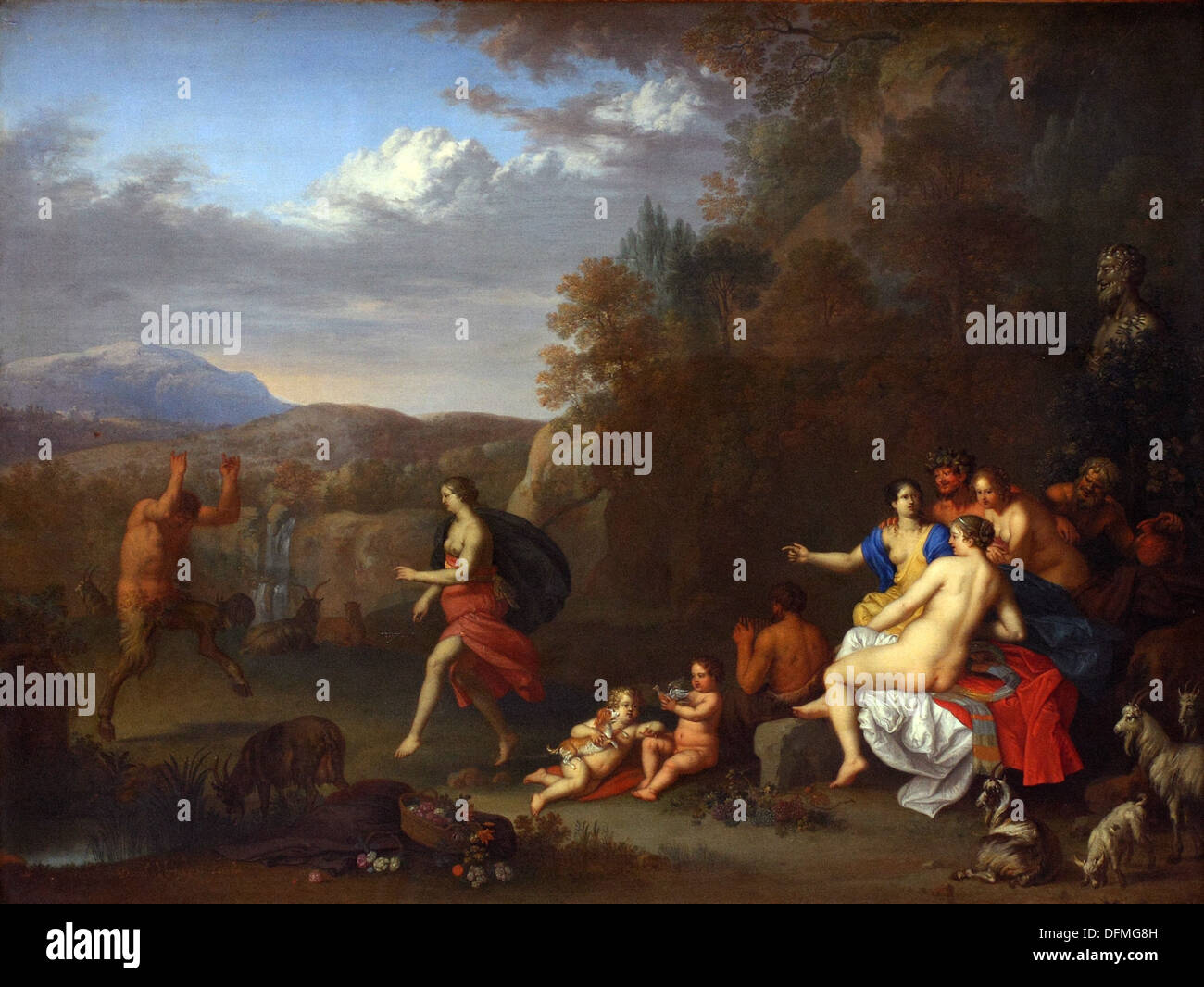 Daniel VERTAGEN - Nymps and Satyrs - 17th century - Museum of Fine Arts - Budapest, Hungary - Stock Image