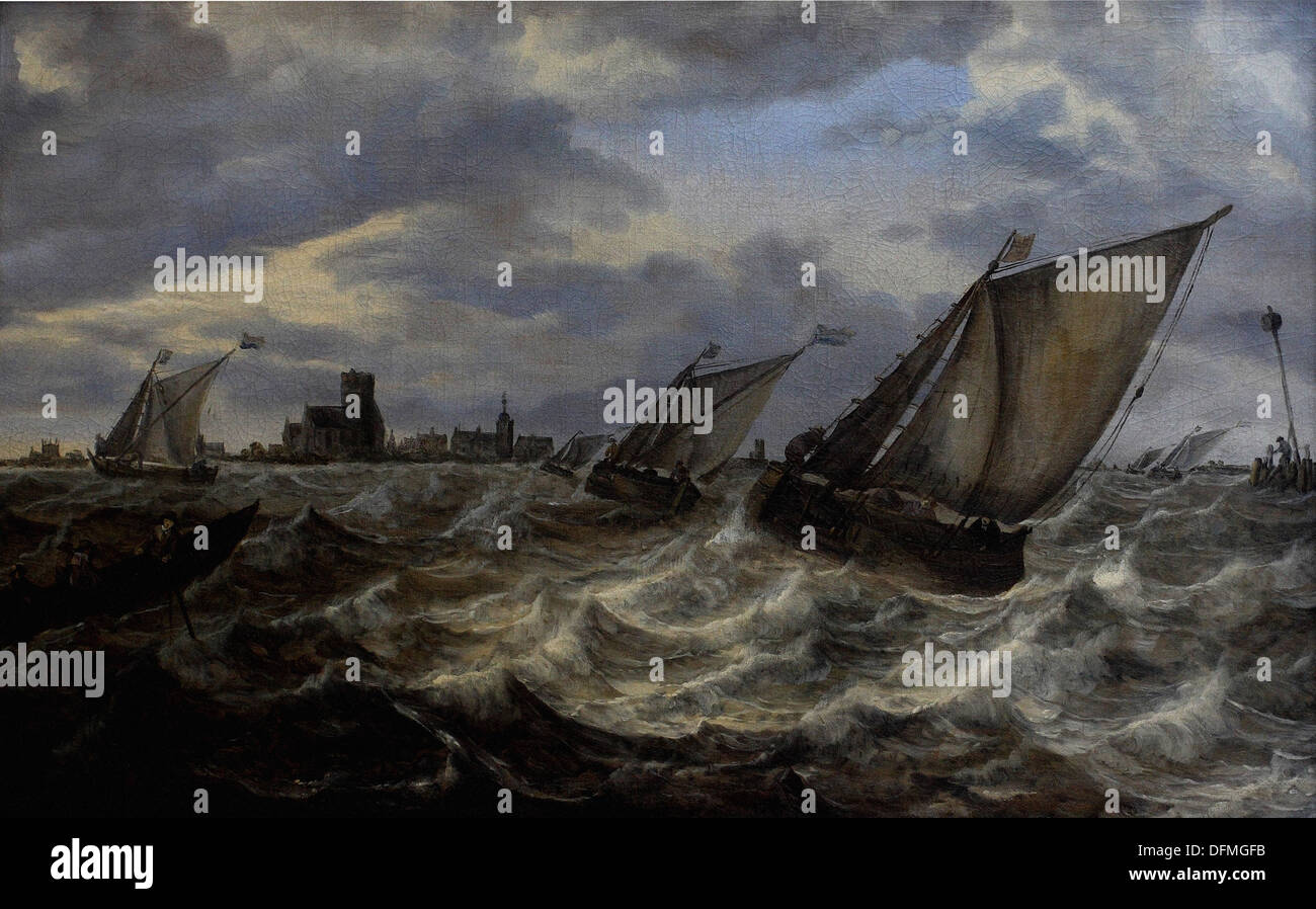 Abraham van BEYEREN - Stormy sea with a torn in the background - 1640 - Museum of Fine Arts - Budapest, Hungary - Stock Image