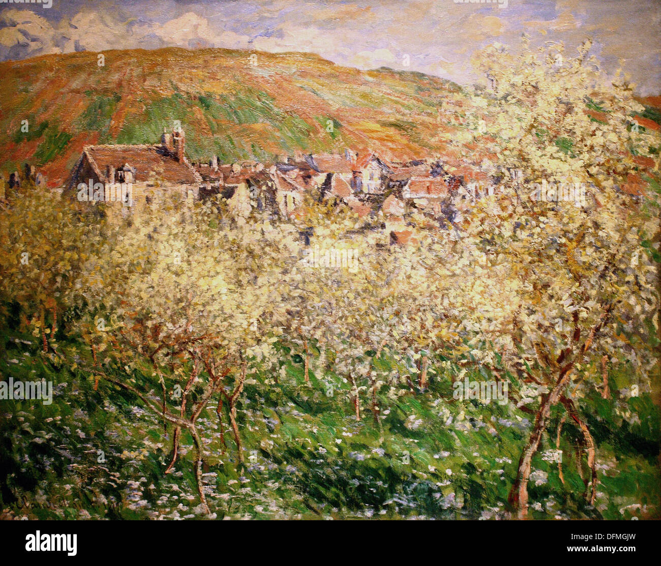 Claude MONET - Plum trees in blossom - 1879 - Museum of Fine Arts - Budapest, Hungary - Stock Image