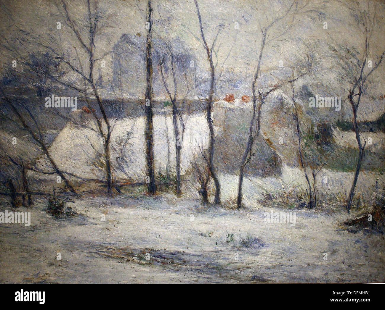 Paul GAUGIN - Garden under snow - 1879 - Museum of Fine Arts - Budapest, Hungary - Stock Image