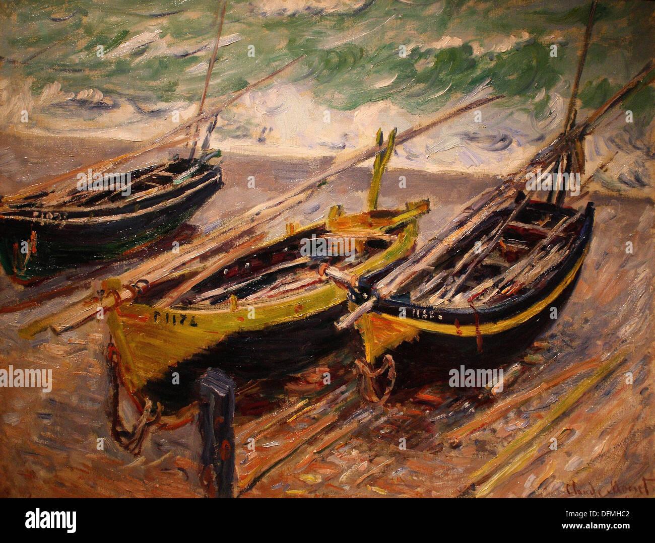Claude MONET - Three fishing boats - 1886 - Museum of Fine Arts - Budapest, Hungary - Stock Image