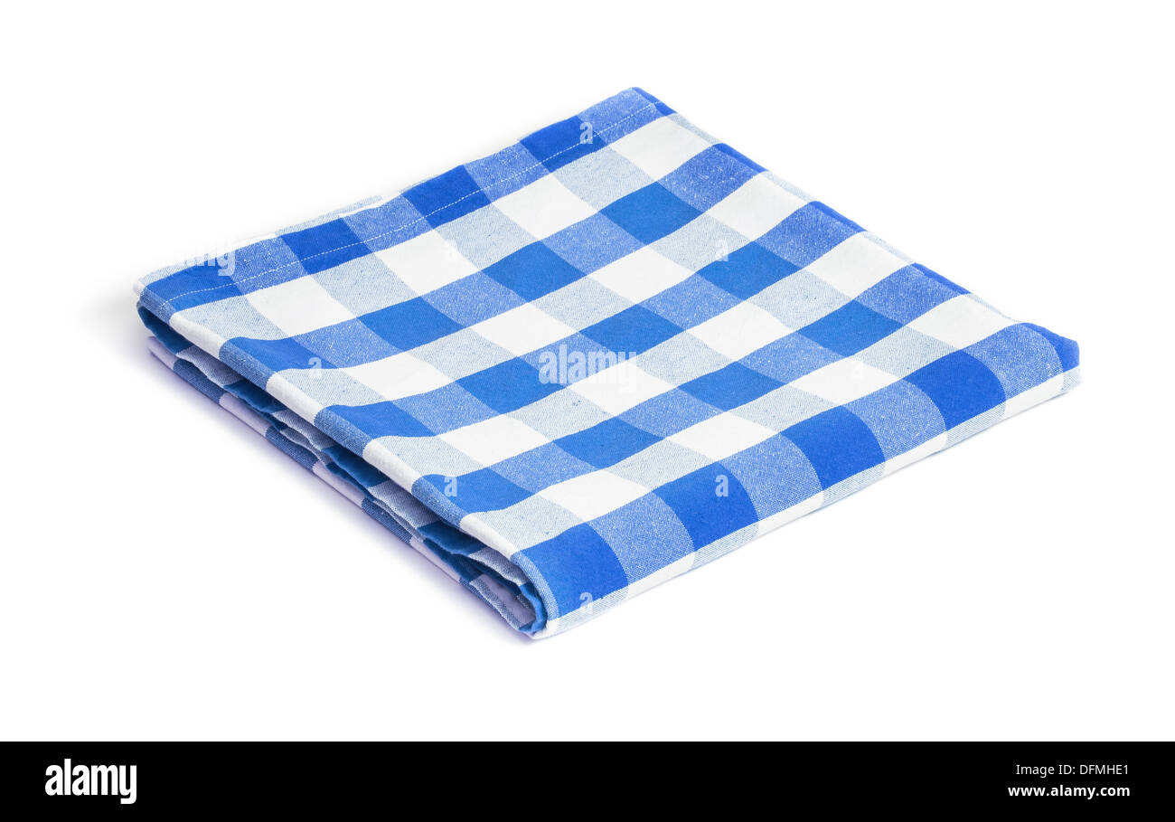 blue folded tablecloth isolated - Stock Image