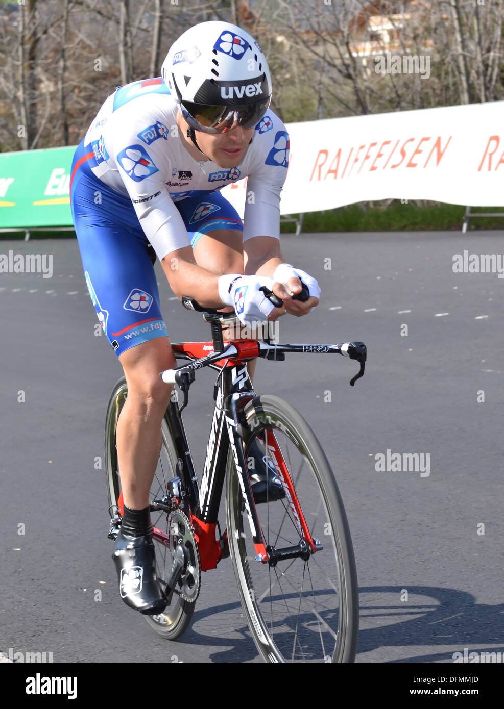 Jeremy ROY of team FDJ on stage 1 of the Tour de Romandie 2013: April 23, 2013 in Verbier, Switzerland - Stock Image