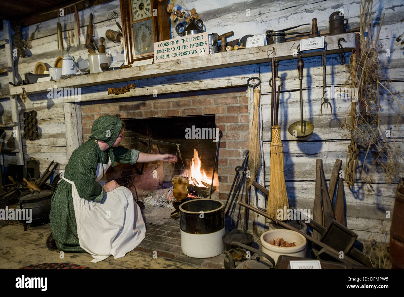 Colonial farm house reconstruction, Great New York State Fair. - Stock Image